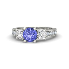 Round Tanzanite 14K White Gold Ring with White Sapphire and Diamond