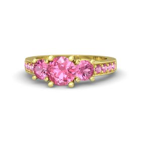 Round Pink Tourmaline 18K Yellow Gold Ring with Pink Tourmaline
