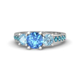 Round Blue Topaz Sterling Silver Ring with Aquamarine & London Blue Topaz