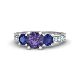 Round Iolite Sterling Silver Ring with Blue Sapphire and Aquamarine