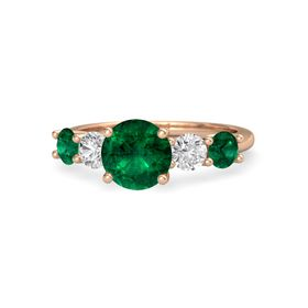 Round Emerald 14K Rose Gold Ring with White Sapphire and Emerald