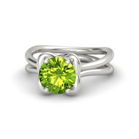 Round Peridot 14K White Gold Ring