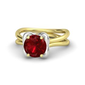 Round Ruby 14K Yellow Gold Ring