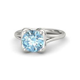 Round Aquamarine Platinum Ring