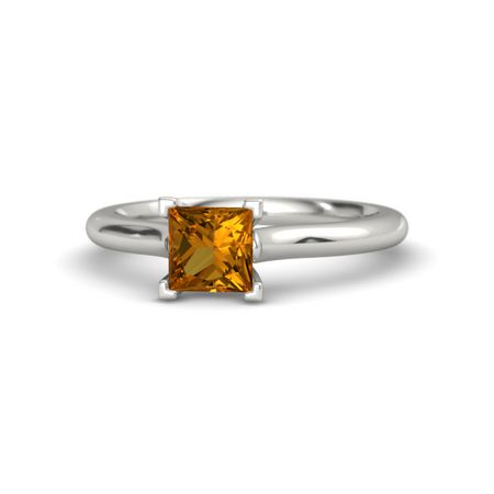 princess citrine 14k white gold ring princess cut