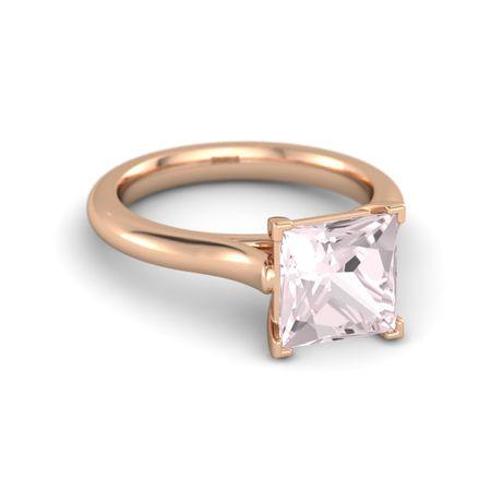 Princess Rose Quartz 14k Rose Gold Ring Ivy Princess Cut