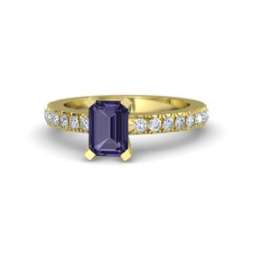 Emerald-Cut Iolite 14K Yellow Gold Ring with Diamond