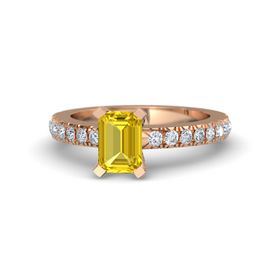 Emerald Yellow Sapphire 18K Rose Gold Ring with Diamond