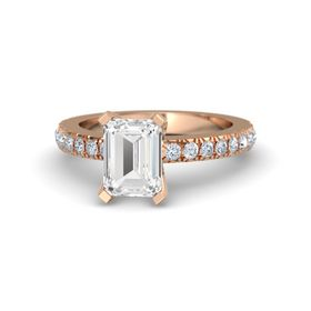 Emerald-Cut White Sapphire 14K Rose Gold Ring with Diamond