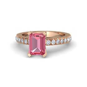 Emerald-Cut Pink Tourmaline 14K Rose Gold Ring with Diamond