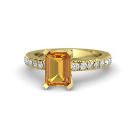 Emerald Citrine 18K Yellow Gold Ring with Diamond