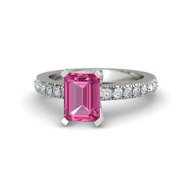 Emerald-Cut Pink Sapphire Platinum Ring with Diamond