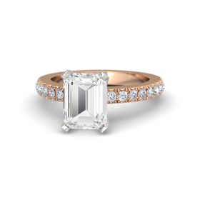 Emerald White Sapphire 14K Rose Gold Ring with Diamond