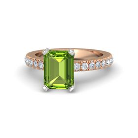 Emerald Peridot 14K Rose Gold Ring with Diamond