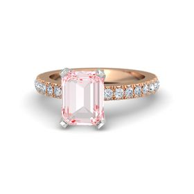 Emerald Rose Quartz 14K Rose Gold Ring with Diamond
