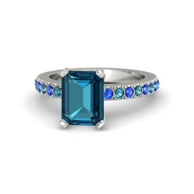 Emerald-Cut London Blue Topaz 14K White Gold Ring with London Blue Topaz & Sapphire