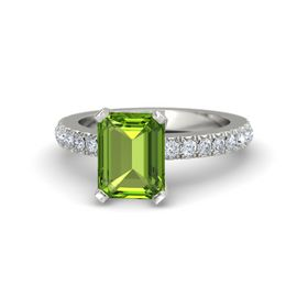 Emerald Peridot 14K White Gold Ring with Diamond