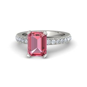 Emerald-Cut Pink Tourmaline 14K White Gold Ring with Diamond