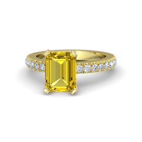 Emerald-Cut Yellow Sapphire 14K Yellow Gold Ring with Diamond