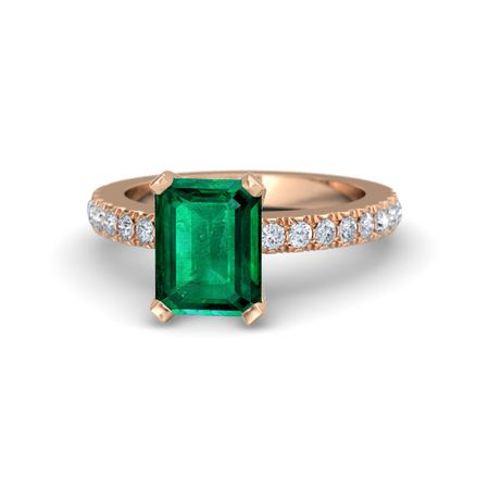 Emerald Cut Emerald 18K Rose Gold Ring with Diamond