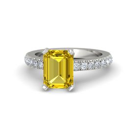 Emerald-Cut Yellow Sapphire 18K White Gold Ring with Diamond