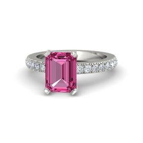 Emerald Pink Sapphire Platinum Ring with Diamond