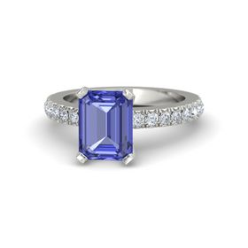 Emerald-Cut Tanzanite Platinum Ring with Diamond