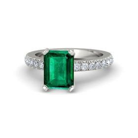 Emerald-Cut Emerald Platinum Ring with Diamond