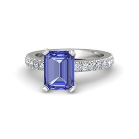 Emerald-Cut Tanzanite Sterling Silver Ring with Diamond