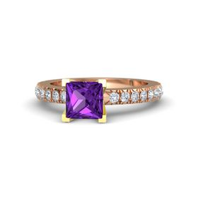 Princess Amethyst 14K Rose Gold Ring with Diamond
