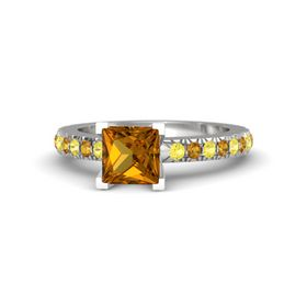 Princess Citrine Sterling Silver Ring with Yellow Sapphire and Citrine