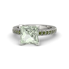 Princess Green Amethyst 14K White Gold Ring with Green Tourmaline
