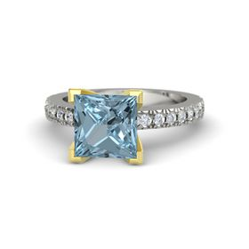 Princess Aquamarine 14K White Gold Ring with Diamond