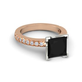 Princess Black Onyx 14K Rose Gold Ring with Diamond