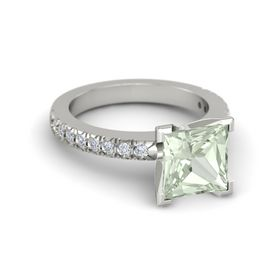 Princess Green Amethyst 14K White Gold Ring with Diamond