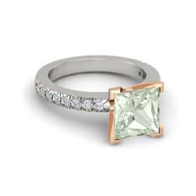 Princess Green Amethyst Palladium Ring with Diamond