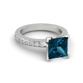 Princess London Blue Topaz Sterling Silver Ring with Diamond