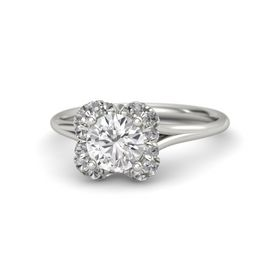 Round White Sapphire 14K White Gold Ring with Rock Crystal