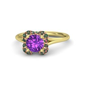 Round Amethyst 14K Yellow Gold Ring with Alexandrite