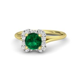 Round Emerald 18K Yellow Gold Ring with White Sapphire