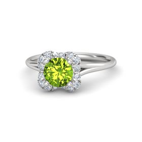 Round Peridot Sterling Silver Ring with Diamond