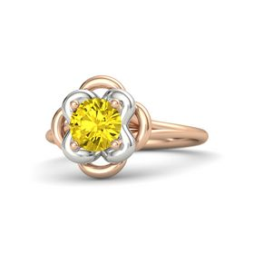 Round Yellow Sapphire 18K Rose Gold Ring