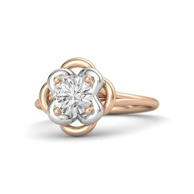 Round White Sapphire 18K Rose Gold Ring