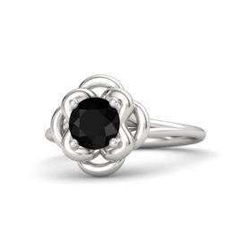 Round Black Onyx Sterling Silver Ring