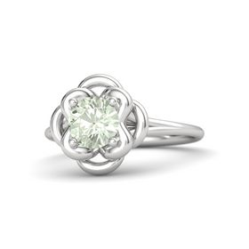 Round Green Amethyst Sterling Silver Ring