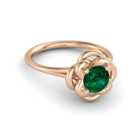 Round Emerald 18K Rose Gold Ring Abbey Double Ring