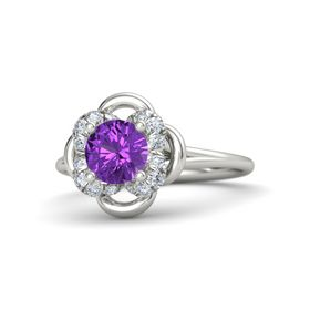 Round Amethyst 14K White Gold Ring with Diamond