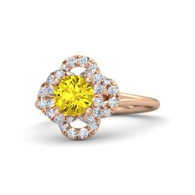 Round Yellow Sapphire 14K Rose Gold Ring with Diamond