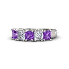 14K White Gold Ring with Amethyst & Diamond