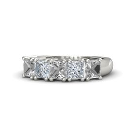 18K White Gold Ring with Rock Crystal and Diamond